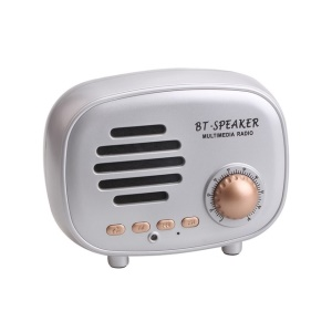 Q108 Retro Style Mini Wireless Bluetooth V4.1 Speaker with Mic Support FM/TF Card - Silver