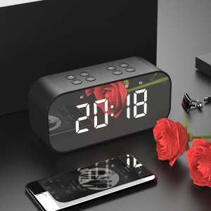 Black - AEC BT501 Portable Bluetooth 5.0 Speaker with Large LED Display Clock Mirror Support Aux-in/TF Card