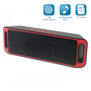 Dual Horn Bluetooth Speaker Support TF Card/Aux-in/FM for iPhone Samsung - Red