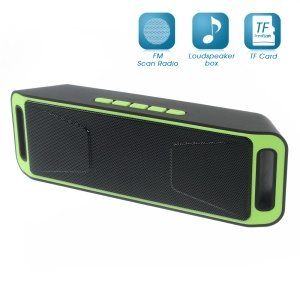 Dual Horn Bluetooth Speaker Support TF Card/Aux-in/FM for iPhone Samsung - Green