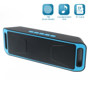 Dual Horn Bluetooth Speaker Support TF Card/Aux-in/FM for iPhone Samsung - Blue