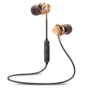 M6 Magnetic Sports In-ear Earphone Bluetooth 4.2 Stereo Headset with Mic Volume Control - Gold