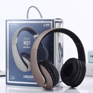 KD23 Folding Over-ear Bluetooth 4.2 Stereo Headset with Mic, Support FM/TF Card/Aux-in - Gold