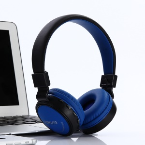 KD18 Wieless Bluetooth Headphone Over-ear Headset with Mic Support TF Card FM Radio AUX-in - Blue