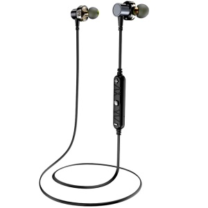 AWEI X660BL Quad-Core Dynamic Double Driver Sports Bluetooth V4.2 Magentic In-ear Headphone - Black / Grey