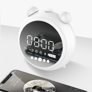 JKR-8100 Bluetooth Alarm Clock Speaker Built-in Mic Support AUX-in / FM / TF Card - White