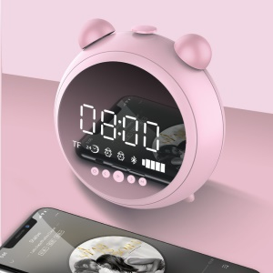 JKR-8100 Alarm Clock Bluetooth Speaker with Mic Support AUX-in / FM / TF Card - Pink