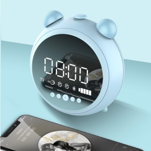 JKR-8100 AUX-in / FM / TF Card Bluetooth Alarm Clock Speaker with Microphone - Blue