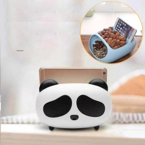 Cute Panda Induction Speaker Amplifier with Nuts Melon Seeds Snack Storage - Black