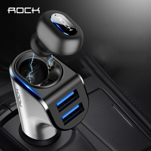 ROCK B400 Bluetooth Earphone Car Charger with 2 USB Ports 3.1A [CVC Intelligent Noise Reduction]