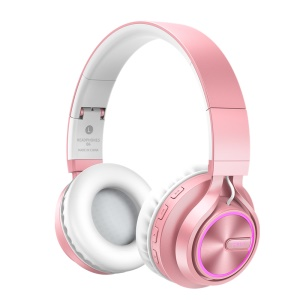 PICUN B6 Hi-Fi Stereo Bluetooth Headset 7 Color Lights 24 Hours Playtime - Rose Gold