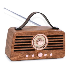 Creative Retro Hand Bluetooth Wireless FM Speaker Support USB / TF Card / Aux-in - Manchurian Ash