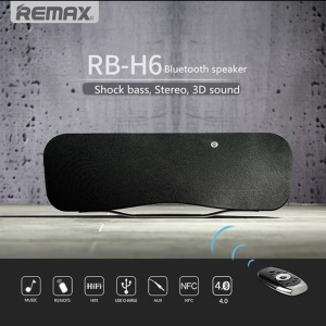REMAX RB-H6 Bluetooth Speaker 3D Stereo DSP Sound Remote Control with NFC Mic - Black