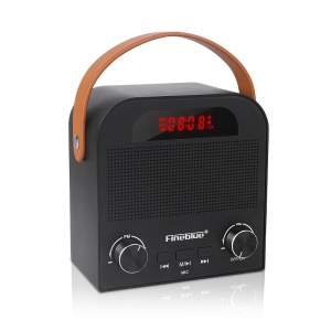 FINEBLUE FM-888 Portable Bluetooth Alarm Clock Speaker with Mic Support TWS/AUX/TF Card/FM/U Disk - Black