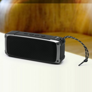 [Dual Speaker] Portable Wireless Bluetooth Speaker, Support TF Card/U Disk/Aux-in - Black