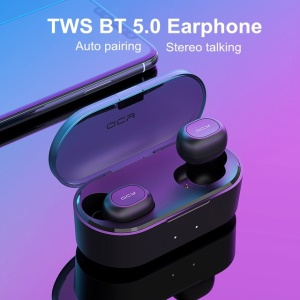 QCY T1S TWS Bluetooth V5.0 Headset Sports Wireless Earphones Dual Microphone with Charging Box