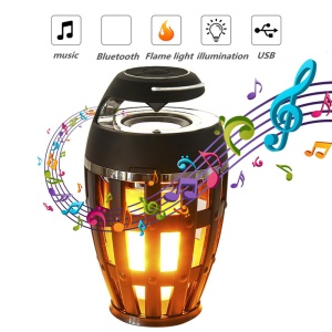 S1 Bluetooth Speaker USB LED Flame Lights Outdoor Portable LED Flame Atmosphere Lamp Stereo Speaker - Black
