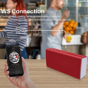 Music Box Wireless Speaker Outdoor Waterproof Bluetooth Speaker TWS Connection - Red