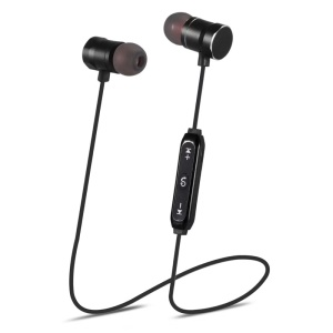 Magnetic Control Wireless Bluetooth Headset with Microphone - Black