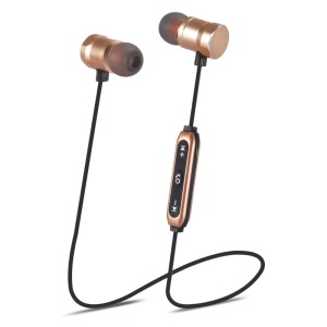Magnetic Control Wireless Bluetooth Headset with Microphone - Gold
