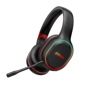 PICUN P80S Over-ear Bluetooth 4.1 Version Stereo Music Luminous Wireless Hifi Headphone - Black / Red
