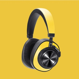 BLUEDIO T7 Bluetooth Headphones User-defined Active Noise Cancelling Wireless Headset with Face Recognition - Yellow