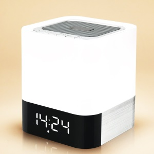 DY28 MUSKY Wireless Bluetooth Speaker with Touchable LED Table Lamp Alarm Clock