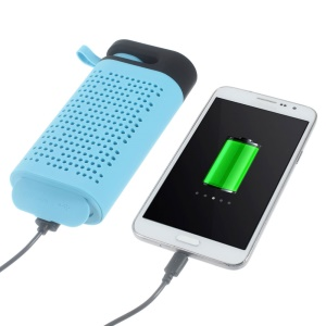 TG06 Wireless Bluetooth Speaker with 4400mAh Power Bank and LED Flashlight - Blue