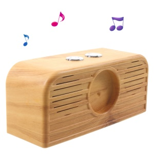 HDY-111 Wood Grain Retro Watch Bluetooth Speaker with AUX-in/TF Card/USB Interface - Yellow