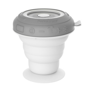 ROCK Pocket Party Suction Cup Bluetooth Speaker with Light Show IP4X Waterproof - Grey