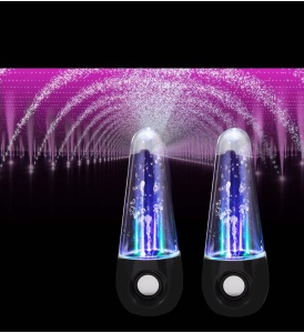 2Pcs/Set 5 Color LED Water Dancing Fountain Speaker with Aux-in / Mini USB Ports - Black