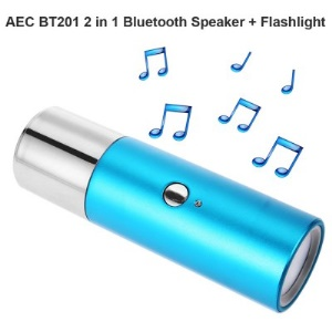 AEC BT201 2 In 1 Mini Waterproof Bluetooth Speaker Flashlight Support TF Card - Blue