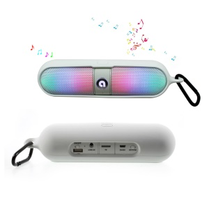 ATS-829 LED Mega Bass Bluetooth Speaker with TF Card Slot/AUX-in/FM Radio/Microphone for iPhone Samsung - White