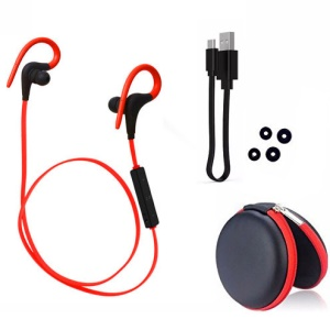 Q10 Wireless Bluetooth Sports Stereo Earpiece with Remote Control - Red