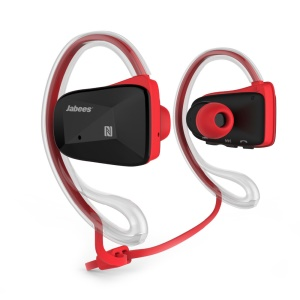 JABEES BSport IPX4 Waterproof Ear Hook Bluetooth 4.0 Headset Sports Earphone with NFC - Red