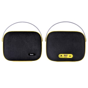 HOCO BS2 Desktop Bluetooth Speaker with Handle Support U Disk/AUX-in/TF Card - Black / Yellow