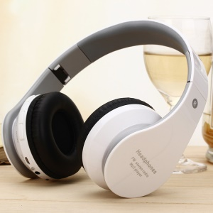 Bluetooth Mega Bass Over-ear Headphone Folding Stereo Headset Support TF Card/FM - White