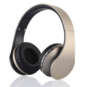 BTH-811 4 in 1 Over-ear Wireless Bluetooth Headset with Mic Support FM/Aux-in/TF Card - Gold