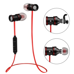 Bluetooth V4.0 Sports Earphone Magnetic Headset with Microphone (BTH-828) - Red / Black