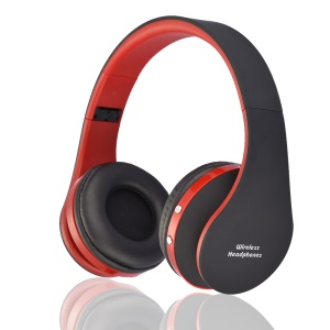 NX-8252 Foldable Stereo Wireless Bluetooth Over-ear Headphone Headset with Mic - Black / Red