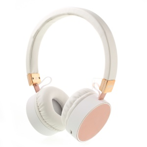 KD-B08 Stretchable Bluetooth Headphone Over-ear  Earphone for iPhone Samsung - White / Rose Gold