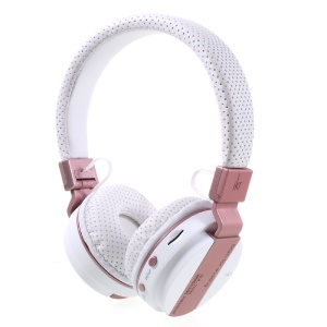 JKR-209B Folding Over-ear Wireless Bluetooth Headphone Headset with Mic Support FM/TF Card - White / Rose Gold