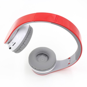 BL-09 Bluetooth Headphone Stereo Over-ear Headset with Mic Support 3.5mm Line-in TF Card FM  - Red