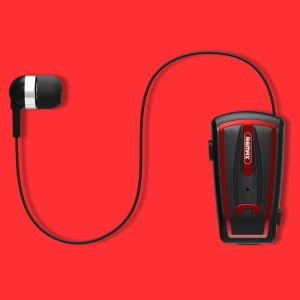 REMAX T12 Collar Clip Bluetooth Headset with Mic Volume Control (CE/RoHS) - Black