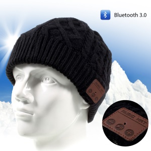 Winter Outdoor Bluetooth 3.0 Wireless Smart Beanie Knit Headphone Speaker Music Hat with Mic - Black