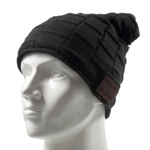Grid Pattern Knitted Winter Warm Hat Built-in Wireless Bluetooth Headphone & Microphone - Black