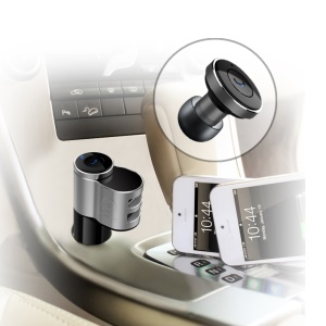 WUW 2 in 1 Car Bluetooth Headset Dual USB Quick Charger Wireless Earphone C12
