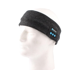 Wireless Bluetooth Stereo Sleep Headset Earphone Knit Fleece Headband with Mic - Dark Grey