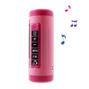 Multifunctional Hands-free Bluetooth Speaker with LED Flashlight Support TF Card/FM Function - Pink