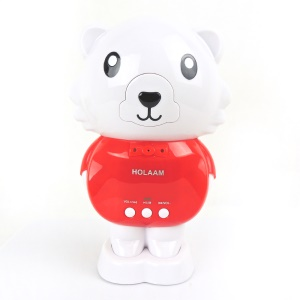 Cute Bear Shape Wireless Bluetooth Speaker with Mic Support TF Card / Aux Input - Red